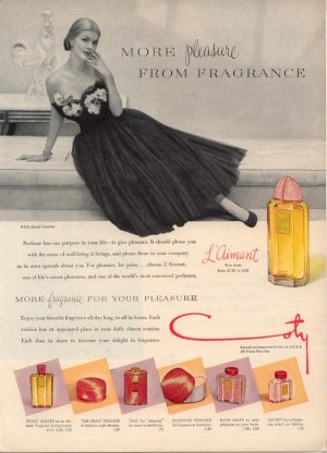 Vintage 1949 Lilly Dache Gown Coty L'Aimant Perfume AD