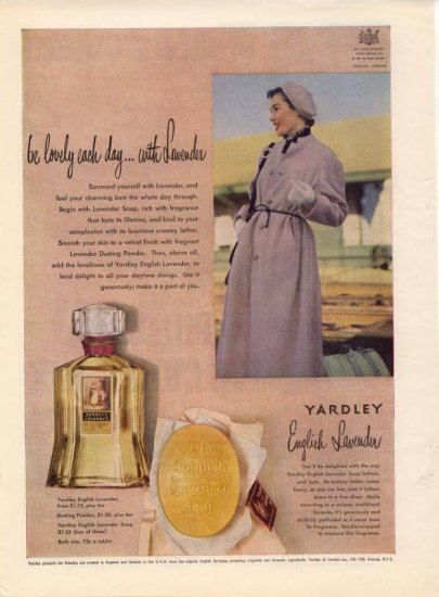 Vintage  1950 Yardley English Lavender Perfume London AD