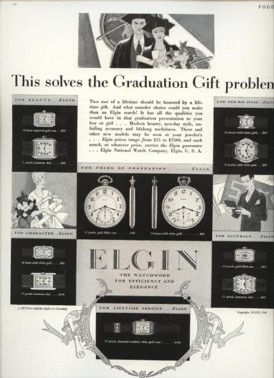 Vintage 1928 Elgin Watch Graduation Gift AD
