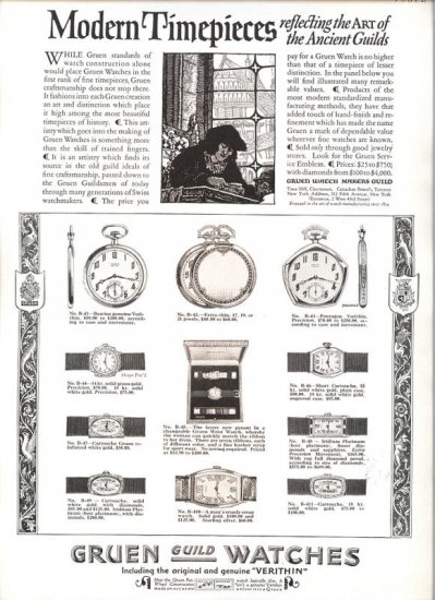 Vintage 1923 Gruen Guild Watches Watch Modern Timepieces  AD
