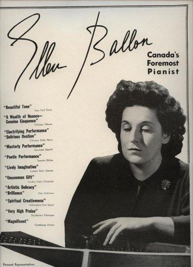 Vintage 1945 Ellen Ballon Canada's Pianist Opera Music  Promo AD