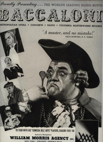 Vintage 1945 Baccaloni Opera Music  Promo AD