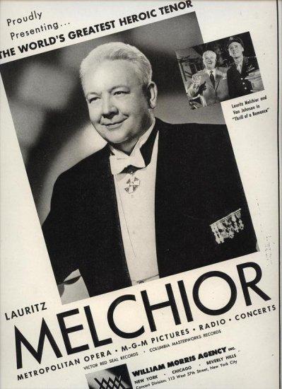 Vintage 1945 Lauritz Melchior Opera Music  Promo AD