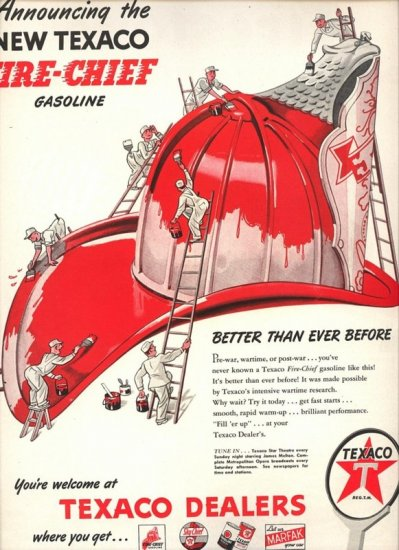 Vintage 1946 Texaco New Fire Chief Gasoline Gas Fire station hat  AD