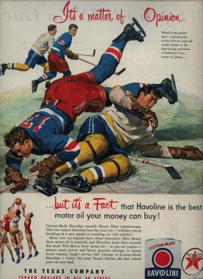 Vintage 1952 Hockey Havoline Oil and Texaco Gas AD