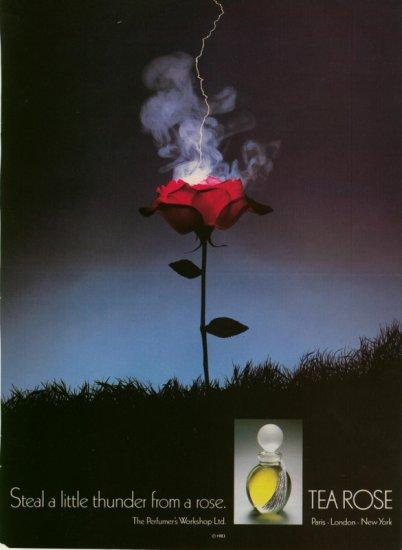 Vintage 1983 Tea Rose Perfume Steal a Little Thunder Rose AD