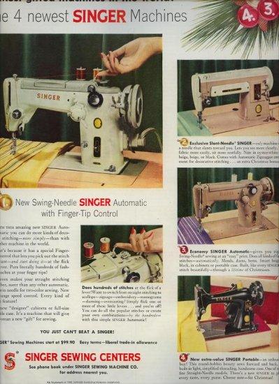 Vintage 1956 Swing Needle Slant Needle Singer Sewing Machine AD