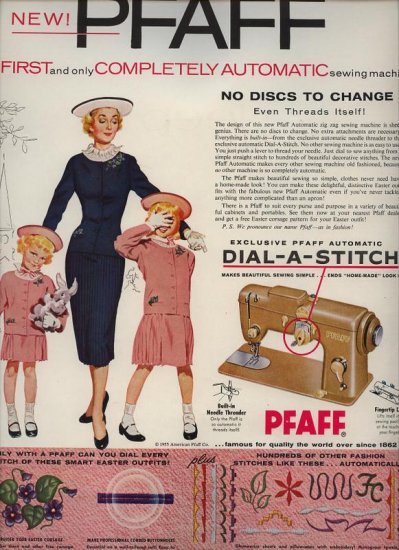 Vintage 1955 Pfaff Dial a Stitch Sewing Machine AD