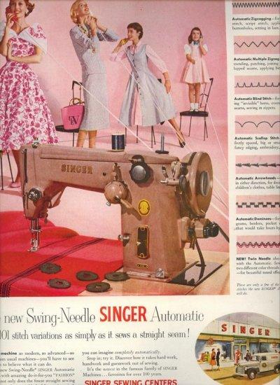 Vintage 1955 Singer Swing Needle Sewing Machine AD
