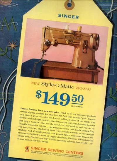 Vintage 1961 Singer New Style O Matic Sewing Machine AD Advertisement