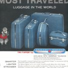 Vintage 1958 Gray Poodle Blue American Tourister Luggage AD