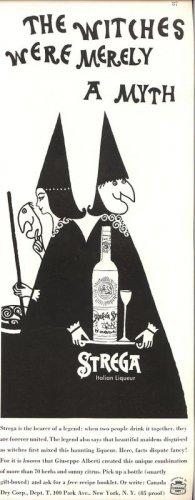 Vintage 1960 Strega Italian Liqueur Witches AD