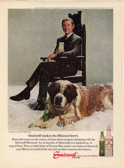 Vintage 1969 Johnny Carson St Bernard Dog Smirnoff Vodka AD