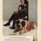 Vintage 1969 Johnny Carson St Bernard Dog Smirnoff Vodka AD