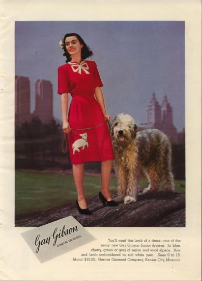 Vintage 1944 Old English Sheepdog Gay Gibson Junior Dress AD