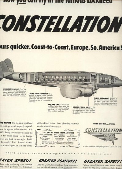 Vintage 1946 Lockheed Constellation Passenger Airplane AD