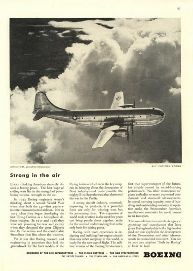 Vintage 1945 Boeing Aviation Military C-97 Stratocruiser AD