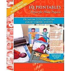 """Electric Quilt EQ Printables Premium Cotton Satin Inkjet Fabric Sheets ~8 1/2"""" x 11"""" ~Easy to Use!"""