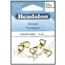 Beadalon Heart Shaped Lobster Claw Clasp, Yellow Gold Plated ~ For Necklaces & Bracelets, 5 pieces