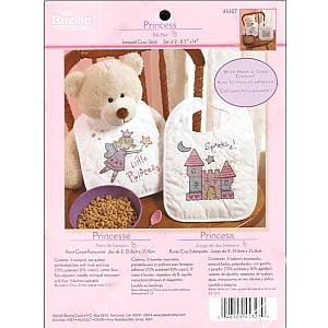 Bucilla Stamped Cross Stitch Kit ~ Pair of Princess Bibs ~ 8 1/2 inch x 14 inch