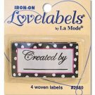 """Iron-On Lovelabels by La Mode """"Created by""""~ 4 Woven Labels for your handmade creations ~Washable"""