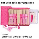 Tulip ETIMO Rose (Red/Pink) 10 Cushion Grip Crochet Hook Gift Set w/ Case, Scissors +2 Yarn Needles