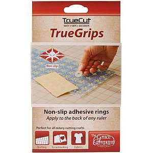 TrueGrips, Non-Slip Adhesive Rings for Quilt and Craft Rulers. TrueCut line by The Grace Company
