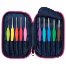 Clover, Amour, Comfortable Crochet Hook Set with Zippered Case, 10 Hooks U.S. sizes B thru J, #3673
