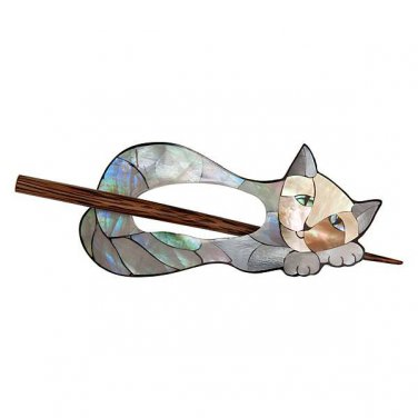 "Paradise Exotic Shawl Pin, Inlaid Mother of Pearl Cat with wood stick, 4"" x 2 1/2"", by Buttons, etc."