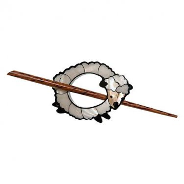 """Paradise Exotic Shawl Pin, Inlaid Shell White Sheep with wood stick, 3 1/2"""" x 2"""", by Buttons, etc."""