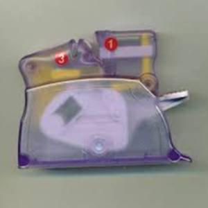 Clover Desk Needle Threader with Thread Cutter in Purple. NEW! Easily & Quickly thread your needles!