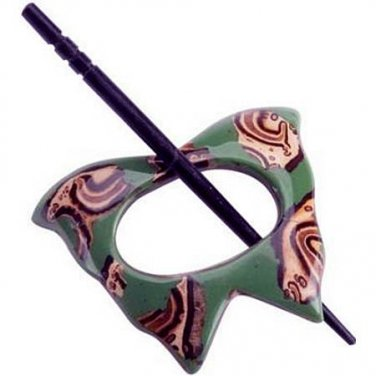 "Paradise Exotic Shawl Pin, ""Alpaco"", with wood stick, 3"" x 2 3/8"" by Buttons, etc."