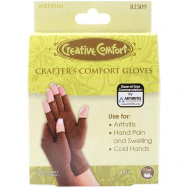 Dritz, Creative Comfort, Medium Crafter's Comfort Gloves use for Arthritis, painful + swelling hands