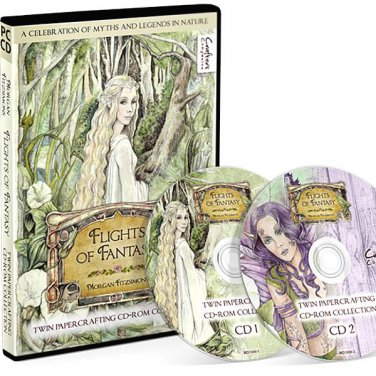 Flights of Fantasy Twin CD-ROM, Papercrafting, Morgan Fitzsimons Image Collection, Free Shipping!