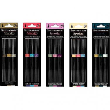 Spectrum Noir Sparkle Pens, Vintage Set, 15 Flexible Fine Brush Glitter Markers - Free Shipping!