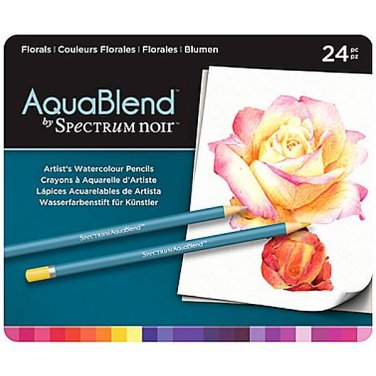 Spectrum Noir AquaBlend Watercolor Pencils, 'Florals' set of 24 Premium, Artist Quality Pencils