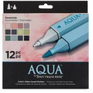 "Spectrum Aqua Water Based, Dual-Tipped, Artist Markers, ""Essentials"" 12 Marker Set, Watercoloring"