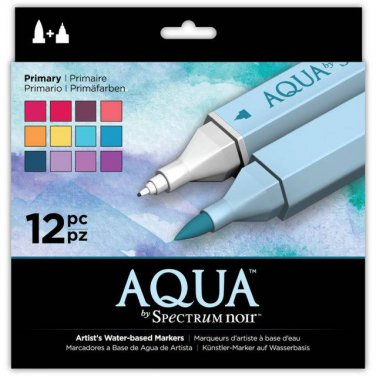 "Spectrum Aqua Water Based, Dual-Tipped, Artist Markers, ""Primary"" 12 Marker Set, Watercoloring"