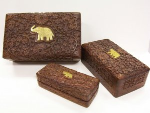 of 3 Carved Wooden Jewelry Box with Embossed Elephant
