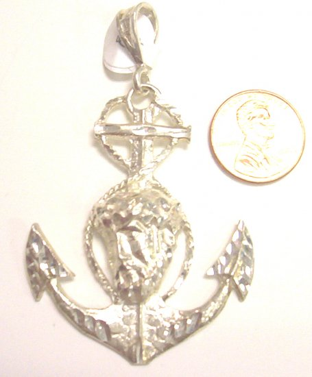 Sterling Silver Mens Anchor & Jesus