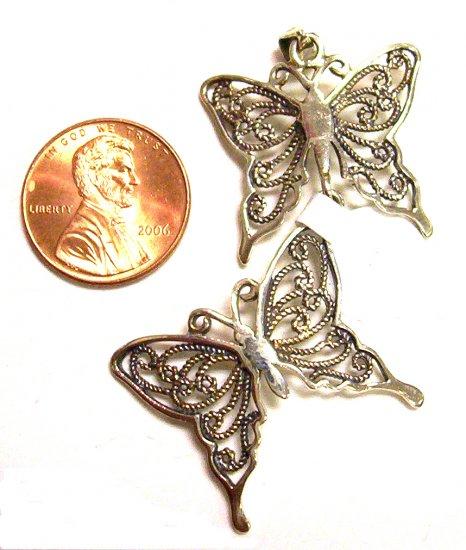 Sterling Silver Women Pendant Double Butterfly