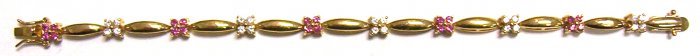 Gold Filled Women's Bracelet - Flowers with stone