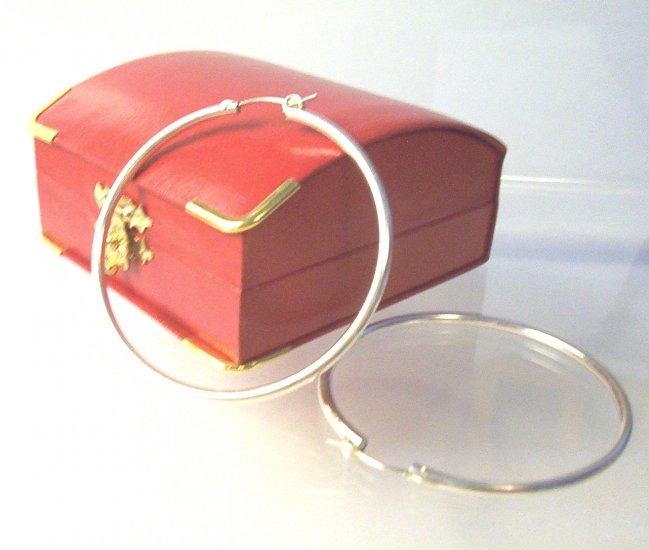 Sterling Silver Hoop Earrings- 6 cm Diameter
