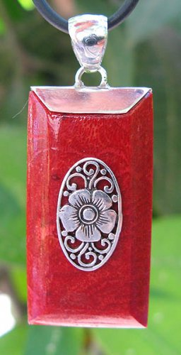 Red Coral Rectangular Sterling Silver Pendant