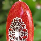 Red Coral Oval Sterling Silver Pendant