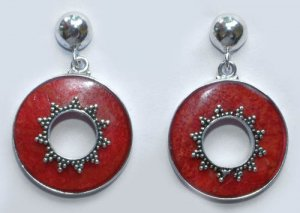Red Coral Round Sterling Silver Earrings