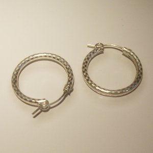 2 cm Sterling Silver Hoop Earring- etched
