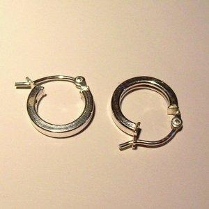1 cm Sterling Silver Hoop Earrings-Square with better hook