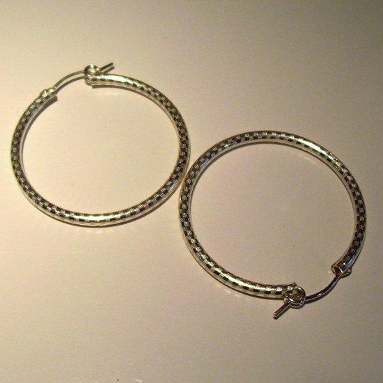 5 cm Sterling Silver Hoop Earrings-etched