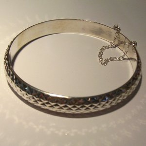 """Sterling Silver """"Fit-all"""" Bangle- diamond etched"""